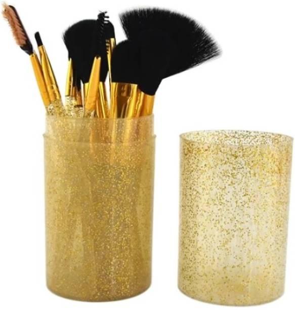 Yoana Professional Series Makeup Brush Set With Storage Barrel - Shiny Golden