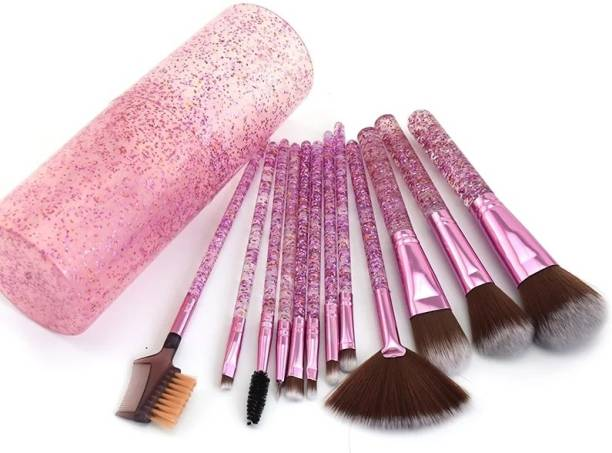 Yoana Professional Series Makeup Brush Set With Storage Barrel - Shiny Purple