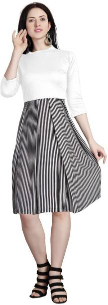 Availkart Women Fit and Flare White, Black Dress