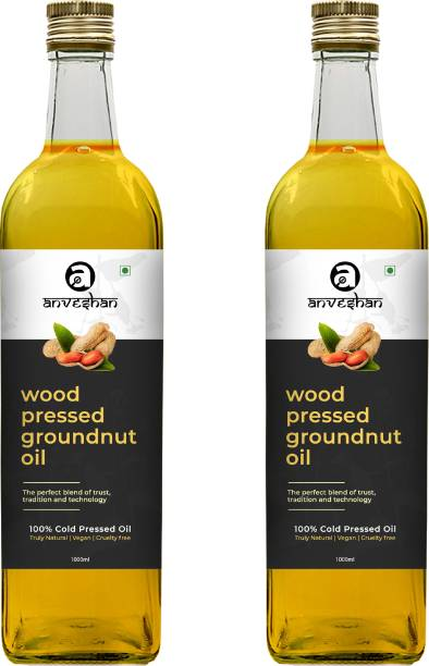 Anveshan Wood Pressed Groundnut Oil (Kacchi Ghani/ Kolhu/ Chekku) 1Litre Glass Bottle (Pack of 2) Groundnut Oil Glass Bottle