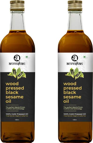 Anveshan Wood Pressed Black Sesame Oil (Kacchi Ghani/ Kolhu/ Chekku) Combo (Pack of 2) Glass Bottle 1L Each Combo