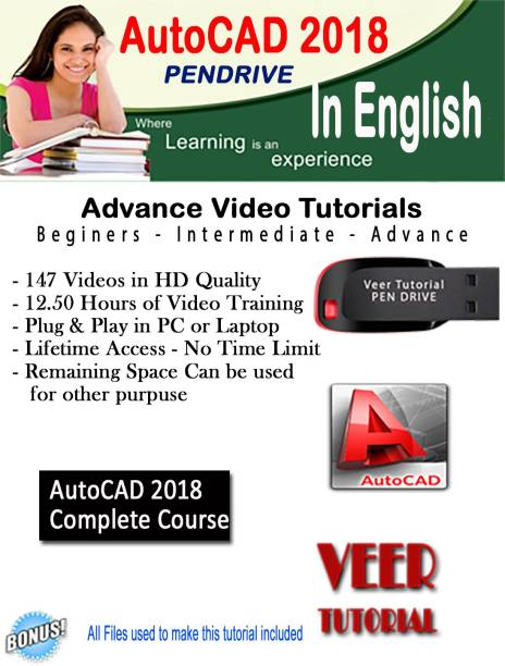 veertutorial AutoCAD 2018 Complete Basic to Advance Video Training 12.5 Hrs 147 Videos
