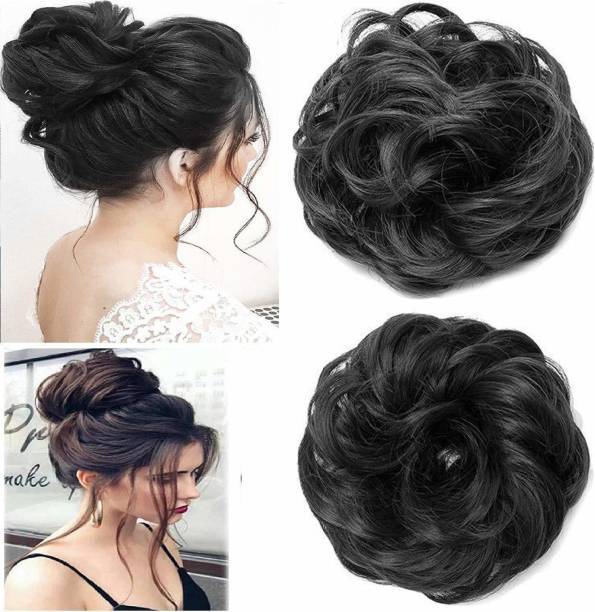 AZEFFIA Baal Set Of 2 Juda Rubber Band Bun Hair Extension For Women, Parties, Wedding And Any Other Occasion Juda Rubber Band (Black) (Pack Of 1) Bun