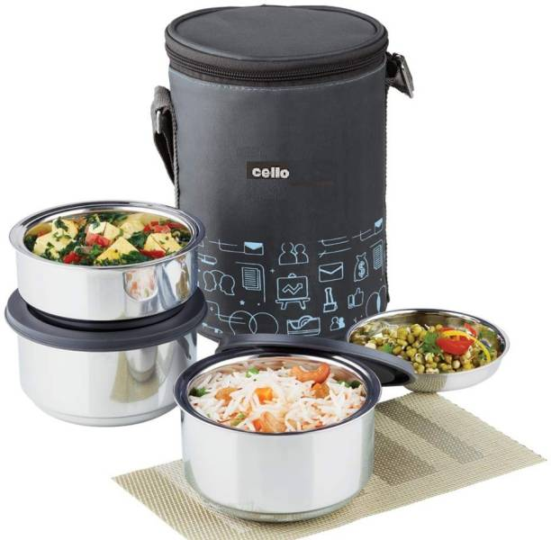 cello max fresh thermo style lunch 3 (s.s containers) 3 Containers Lunch Box