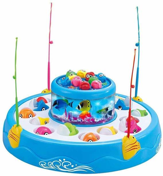 Jugutoz Fishing Fish-Catching Game with 26 Pieces Fishes, 2 Rotary Ponds and 4 Pods with Music and Light Function (Multicolour)