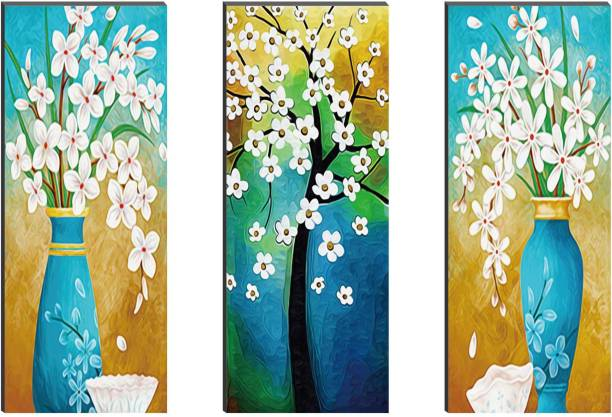 SAF Floral Set of 3 6mm MDF Self Adhesive Panel Painting Digital Reprint 15 inch x 18 inch Painting