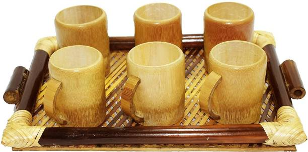 Bengal Handicrafts & Handlooms Natural Golden Bamboo Coffee Cup Set Coffee Cup 6 Nos and 1 Bamboo Tray Tray, Glass Serving Set