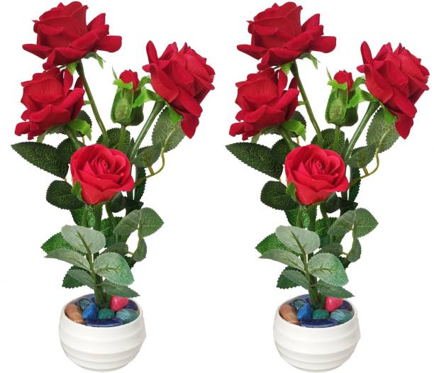 BK Mart Set of 2 Red Rose Flower Bunch Best for Home Shop Office Decoration Or Gift Red Rose Artificial Flower  with Pot