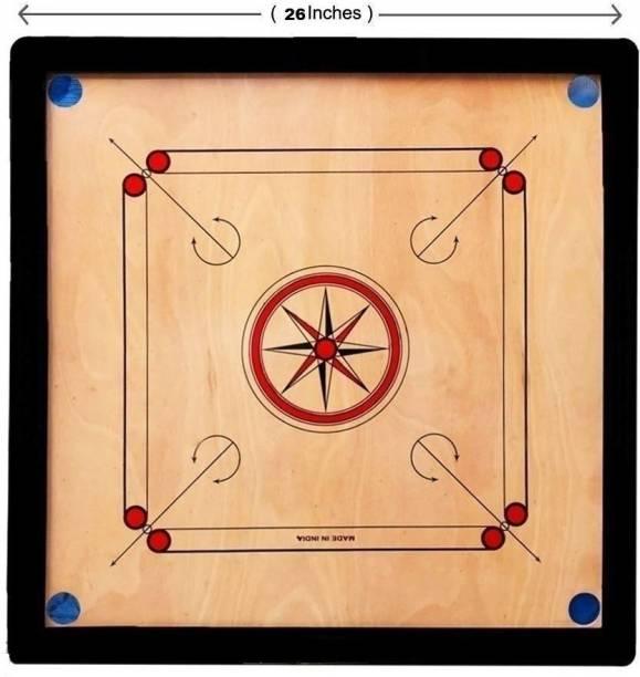 pinaki Gloss Finish Medium size Carrom Board with Coins, Striker & Powder Size 66.04 cm Carrom Board