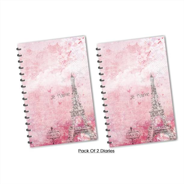 ESCAPER Pink Eiffel Tower Paris (Ruled) Designer Diary, Journal, Notebook, Notepad - Pack of 2 Diaries A5 Diary Ruling 160 Pages