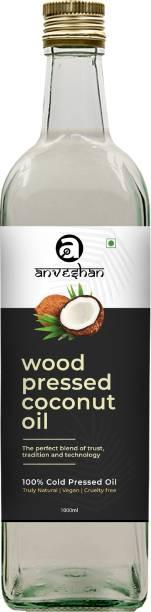 Anveshan Wood Pressed Coconut Oil (Kacchi Ghani/ Kolhu/ Chekku) 1L Glass Bottle Coconut Oil Glass Bottle