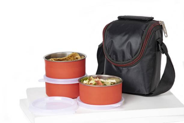 Serenity Executive Lunch Insulated Tiffin Best Steel Lunch Box Stainless Steel 3 Container Lunch Box Leakproof Containers Tiffin Set with Bag for Office lunch boxes for office stainless steel lunch boxes for office lunch box For Adults And Kids (Red) 3 Containers Lunch Box