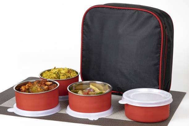 AURUMWARE Executive Lunch Insulated Tiffin Best Steel Lunch Box Stainless Steel 4 Container Lunch Box Leakproof Containers Tiffin Set with Bag for Office lunch boxes for office stainless steel lunch boxes for office microwave safe lunch box For Adults And Kids (Red) 4 Containers Lunch Box