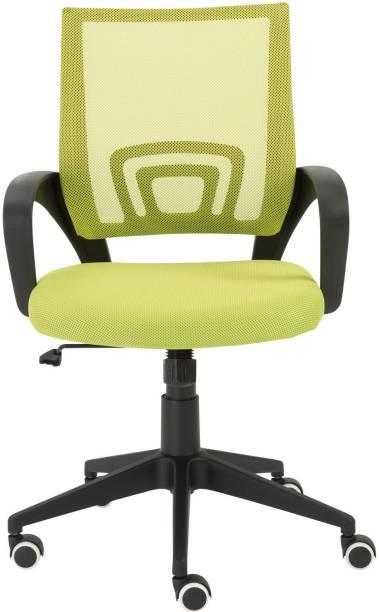 Finch Fox Medium Back Royal Ergonomic Desk Mesh Chair in Green Colour Fabric Office Executive Chair