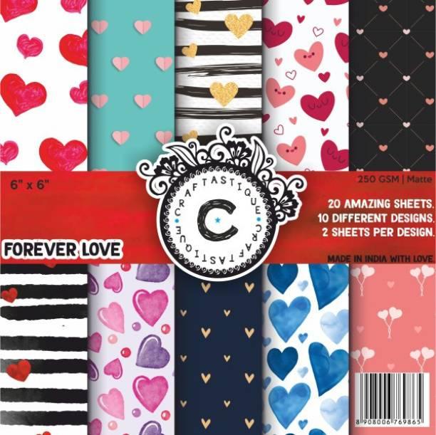 Craftastique Forever Love Designer Paperpack 6 x 6 inches 250 gsm Craft paper