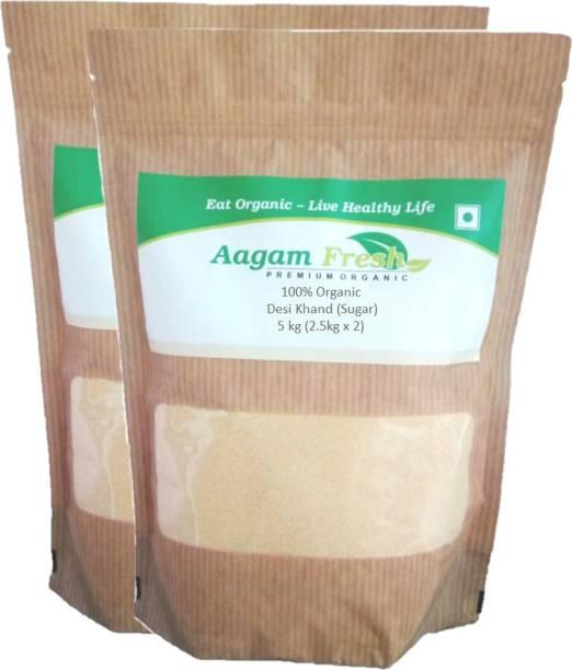 Aagam Fresh Organic Desi Khand (Sugar) - 5 kg - Pack of 2 (2.5 Kg Each) Sugar