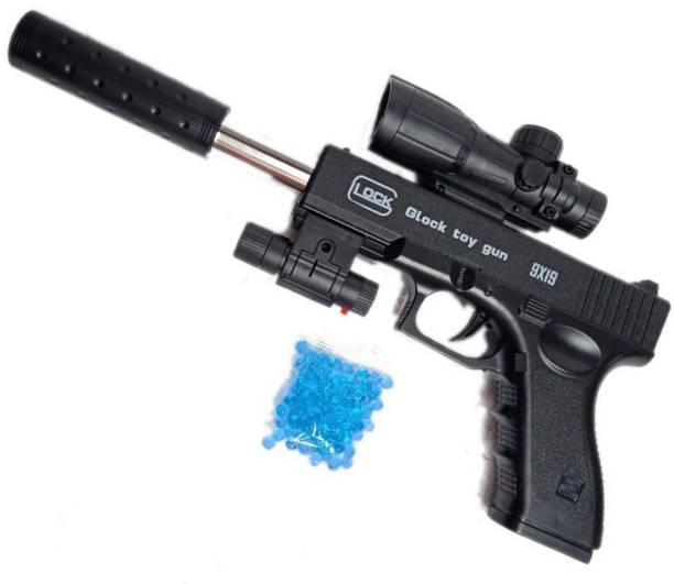 Toyvala FAST ACTION PUBG SHOOTING TOY GUN FOR KIDS WITH ULTRA SONIC RED LASER LIGHT, SCOPE AND SILENCER Guns & Darts
