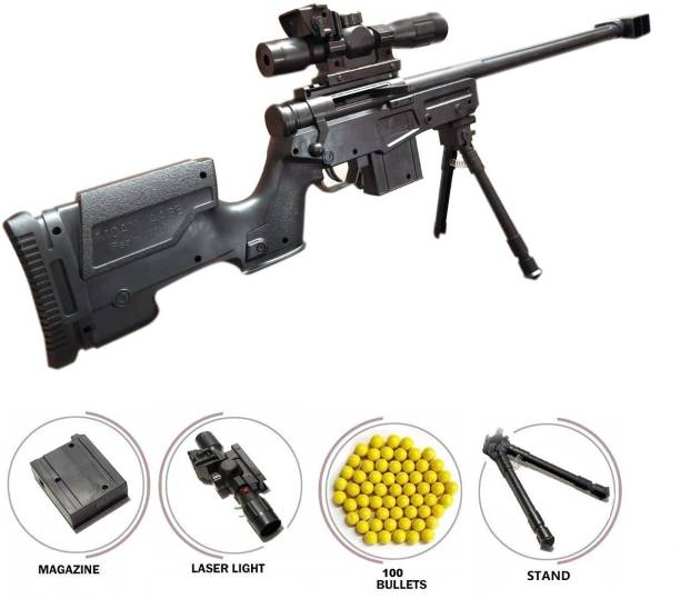 HALO NATION AWM M24 Toy Gun with Bb Bullet Blaster Mode Sniper Gun Toy - 74 cm PUBG AWM Gun Toy with Laser Traget - AWM Black gun + 100 bb Guns & Darts