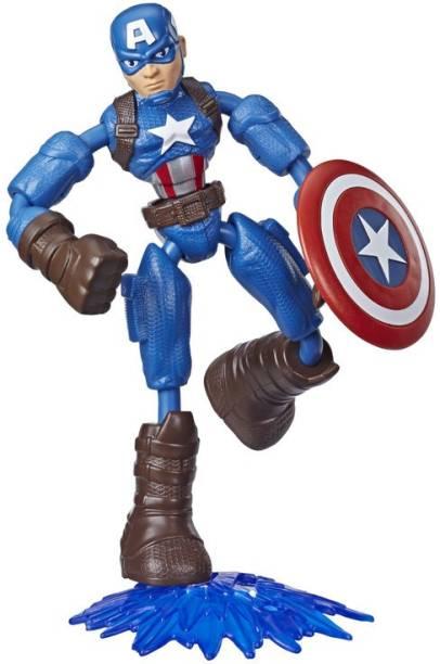 MARVEL Avengers Bend&Flex Toy, 6-Inch Flexible Captain America Action Figure,Blast Accessory,Kids Ages 4&Up