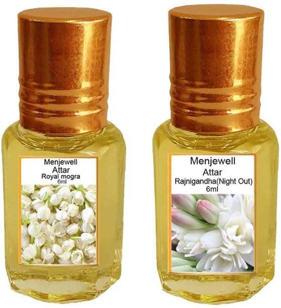 Menjewell Pack of The Royal Mogra 6ml & The Rajnigandha 6ml Natural Itra/Attar/ Perfume Floral Attar