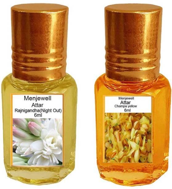 Menjewell Pack of The Rajnigandha 6ml & The Nag Champa 6ml Natural Itra/Attar/ Perfume Floral Attar