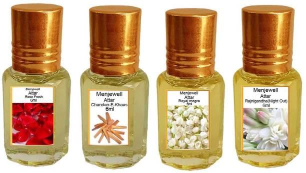 Menjewell Pack of 4Pc Attar (Rose Fresh 6ml, Chandan-E-Khaas 6ml, Royal Mogra 6ml, Rajnigandha 6ml Natural Itra/Attar/ Perfume Floral Attar