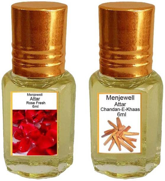 Menjewell Pack of The Rose Fresh 6ml & The Chandan-E-Khaas 6ml Natural Itra/Attar/ Perfume Floral Attar