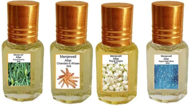 Menjewell Pack of 4Pc Attar Royal Kewda 6ml, Chandan-E-Khaas 6ml, Royal Mogra 6ml, Aqua Fresh 6ml Natural Itra/Attar/ Perfume Floral Attar