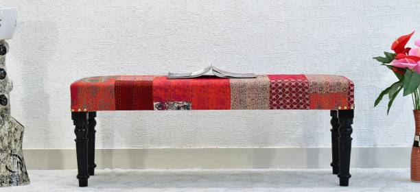 SamDecors Multipurpose Joy Sitting Bench Settee with Red Printed Kantha Gudri Patchwork Upholstery Solid Wood 2 Seater