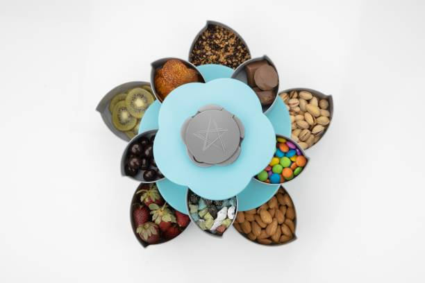 2Mech Double Layer 10 Grid Candy Snack Storage Flower Shape Rotating Box with moblile Stand Design Also Use for Serving Tray Like Dried Fruit, Fruit, Party Food,Chocolate,Sweet (Blue, Small Size) 1 Piece Salt & Pepper Set