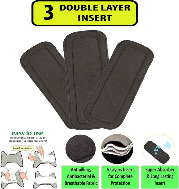 Welo Pack of 3 Wetfree Reusable Washable Adjustable Cotton Diaper Nappy Inserts for Baby Cloth Diapers, 5 Layer Bamboo Charcoal Inserts Liners Natures Cloth Diaper Liner For Babies of Ages 0 to 2 years - M - L