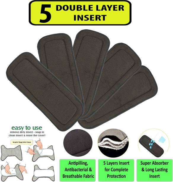 Welo Pack of 5 Wetfree Reusable Washable Adjustable Cotton Diaper Nappy Inserts for Baby Cloth Diapers, 5 Layer Bamboo Charcoal Inserts Liners Natures Cloth Diaper Liner For Babies of Ages 0 to 2 years - M - L
