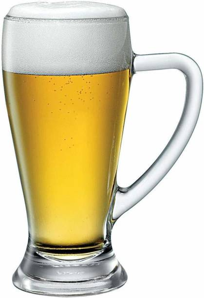 Shivshakti Kitchenware (Pack of 2) New Designer Beer Mug , Glass, Transparent, 650 ml ( set of 2 pis ) Beer mug glass set Glass Set