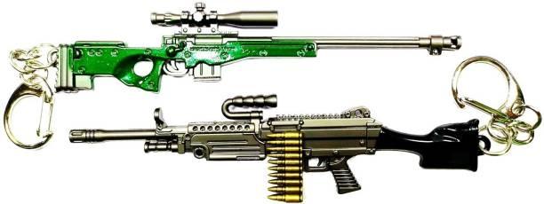 MASHKI PUBG THEME PREMIUM KEY CHAIN AWM COMBO SET of 2 SNIPERS GUN KEY RINGS m249/AWM pubg keychain Key Chain