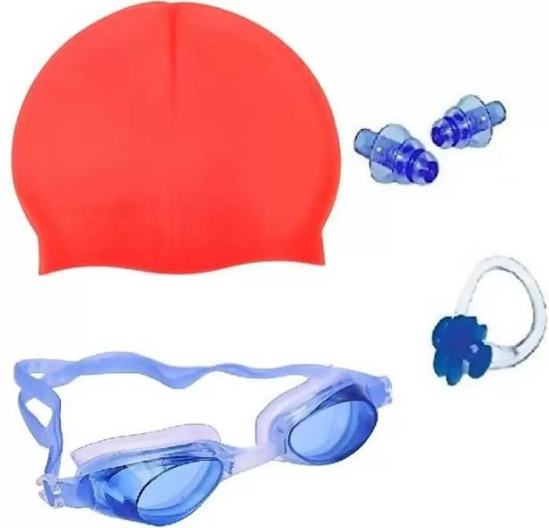 gorgeous moment Pool Wear Accessories for Summer Swimming Cap with Goggles Perfect Combo for Beach and Pool Party Swimming Kit