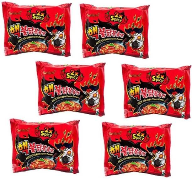 Samyang 2X Spicy Hot Chicken Flavor Ramen Fire Chicken (buldak) Double Spicy 140g*6pack Hakka Noodles Non-vegetarian