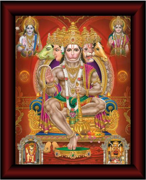 SAF Panchmukhi Hanuman UV Textured Multi-Effect Painting Digital Reprint 14 inch x 11 inch Painting
