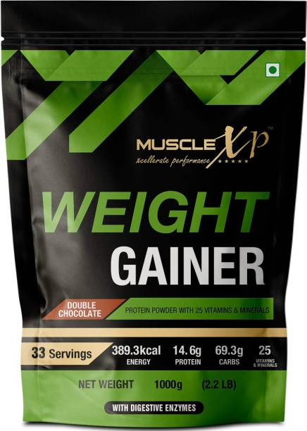 MUSCLEXp Weight Gainer - With 25 Vitamins and Minerals, Digestive Enzymes, 1kg (Pouch) Weight Gainers/Mass Gainers