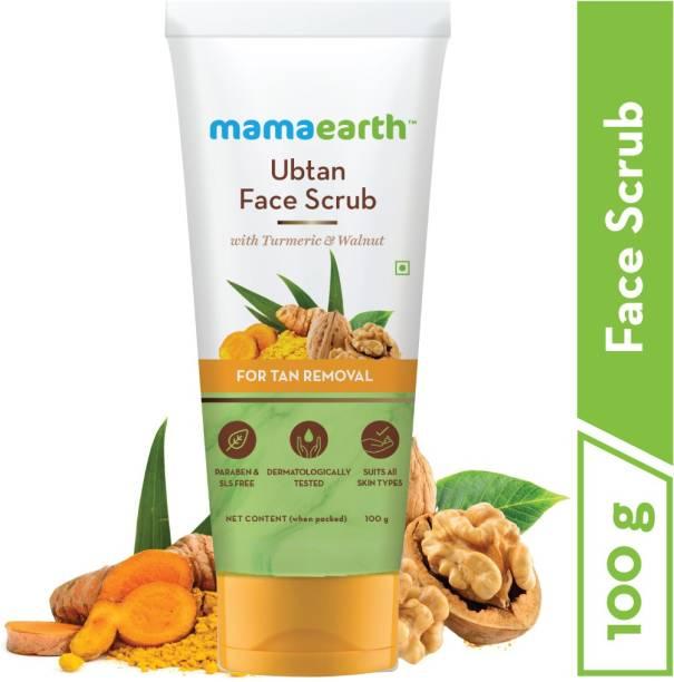 MamaEarth Ubtan Scrub For Face with Turmeric & Walnut for Tan Removal - 100g Scrub