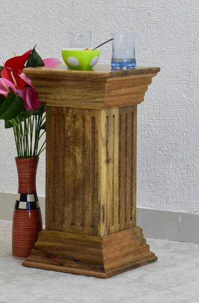 SamDecors Solid Sheesham Wood (Rosewood) Multipurpose Pillar/End Table/Vase Stand/Lamp Stand (Lacquer Finish, Natural Teak) Solid Wood Corner Table
