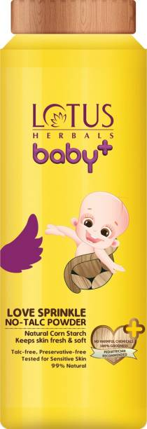 Lotus Herbals Baby+ No-Talc Powder, With Natural Corn Starch, 99% Natural, Pediatrician Recommended, (0-5 Yrs)