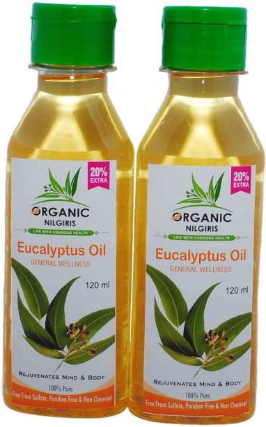 organic nilgiris eucalyptus oil 100% original organic 120 nilgiri thailam fights from virus combo pack of one, two and pieces with discounted best price