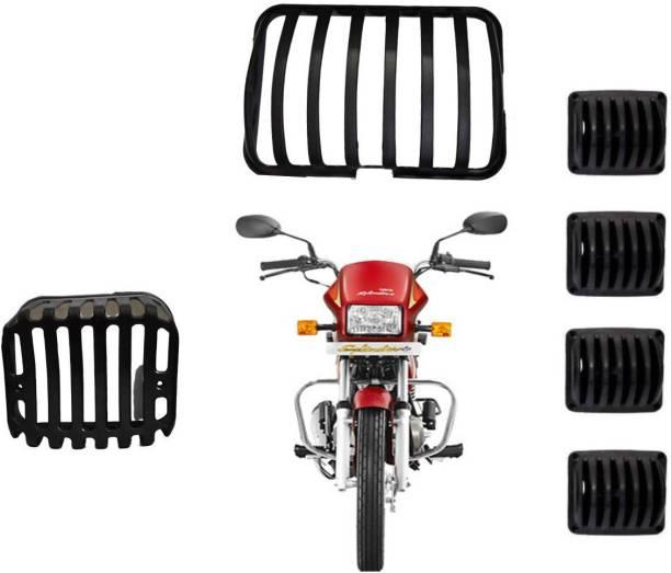 JCTEK Metal Finish PVC Headlight Grill Set for Hero Splendor (Set of 6) Black Bike Headlight Grill