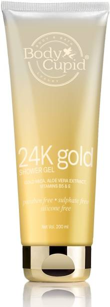 Body Cupid 24K Gold Shower Gel With Gold Mica, Aloe Vera Extract And Vitamin B5 & E - 200mL