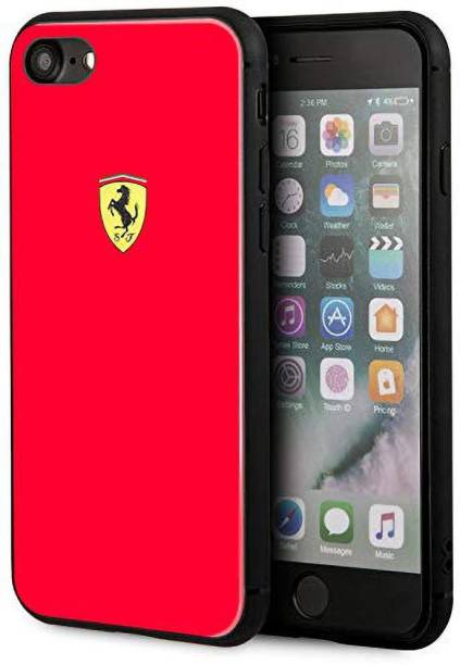 Ferrari Back Cover for Hard Case for iPhone 7/8 Dual Material Frame Shock-Absorbing Rubber Logo Print Back Cover - Red