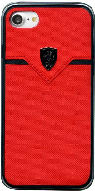 Ferrari Back Cover for PU Leather Hard Case Back Cover iPhone 8 Compatible with 7/6/6s (Red & Black)