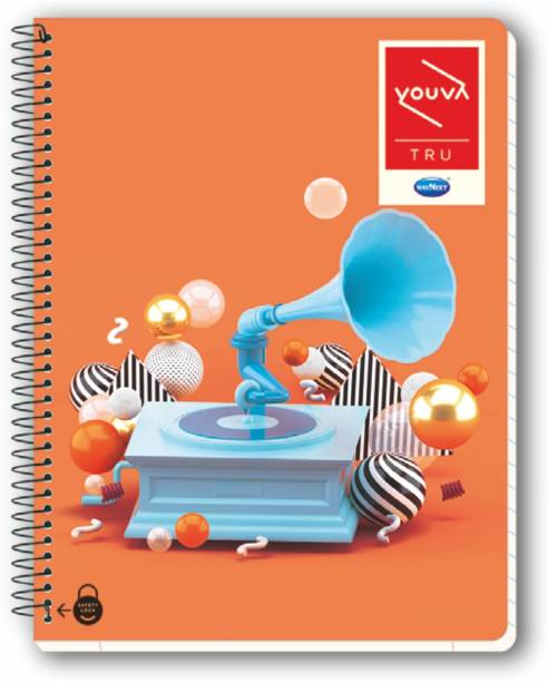 NAVNEET Youva Spiral & Soft Bound 6 Subject Book 18x24 cm Regular Notebook Single Line 300 Pages