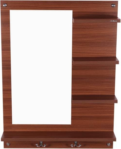 Madhuran Dressing Wall Mirror With Shelf Classic Walnut Engineered Wood Dressing Table