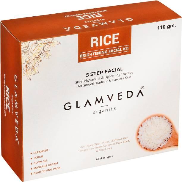 GLAMVEDA Rice Water Brightening 5 Step Facial Kit 110g | Intense hydration & glow | All Skin Types| No Parabens