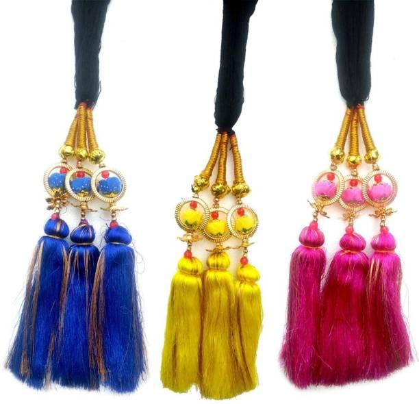 ONEX Paranda Parandi Braid Tassles Hair Accessory For Women & Girls Hair Extension Choti Braid Tassles Prandi (3 Pieces) Braid Extension
